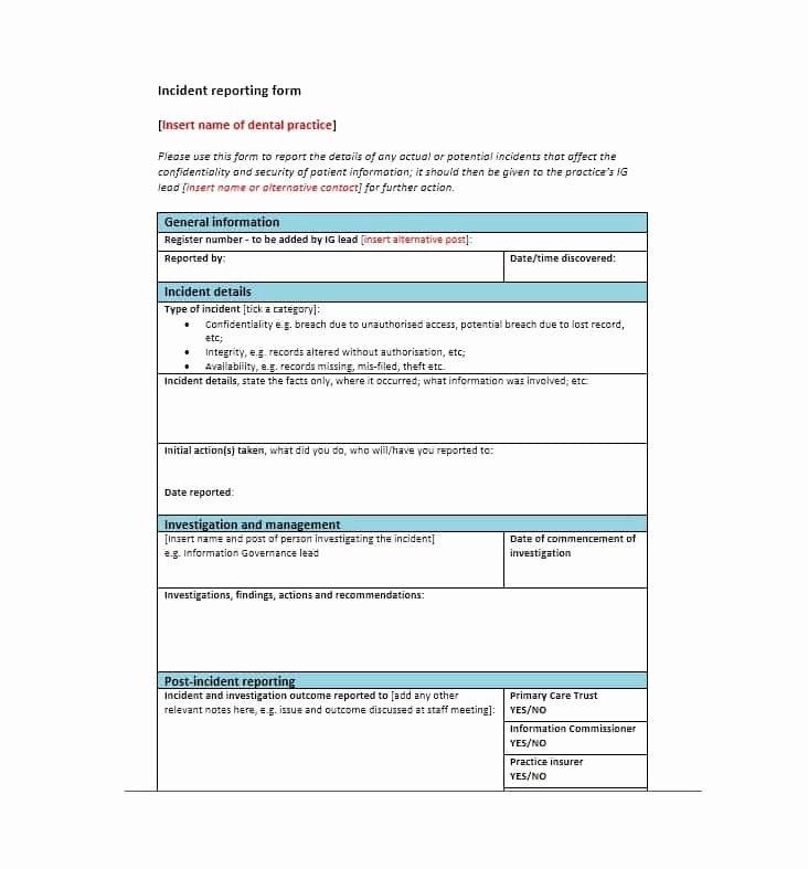 Generic Incident Report Template Elegant 60 Incident Report Template [employee Police Generic]