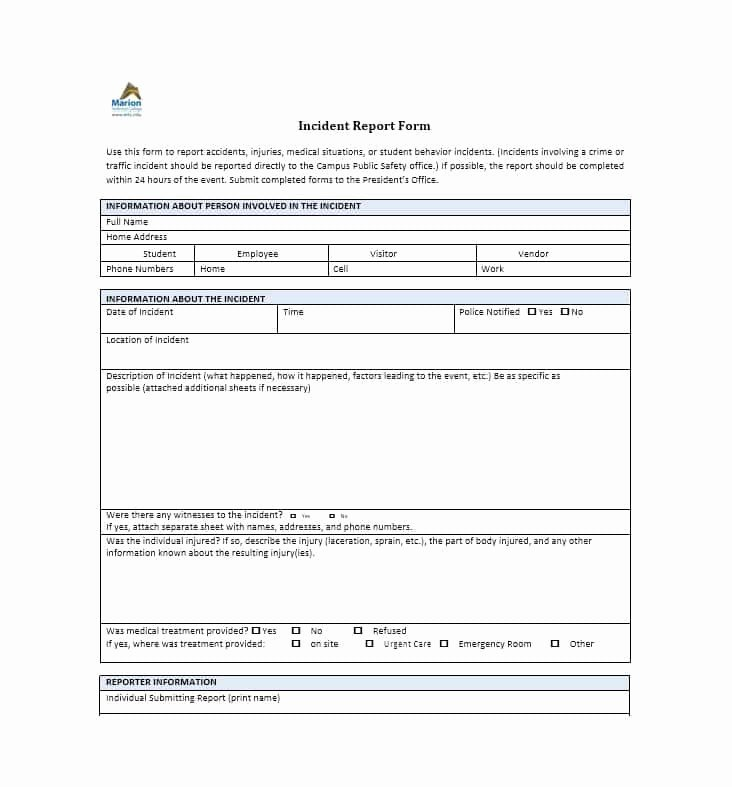 Generic Incident Report Template Fresh 60 Incident Report Template [employee Police Generic