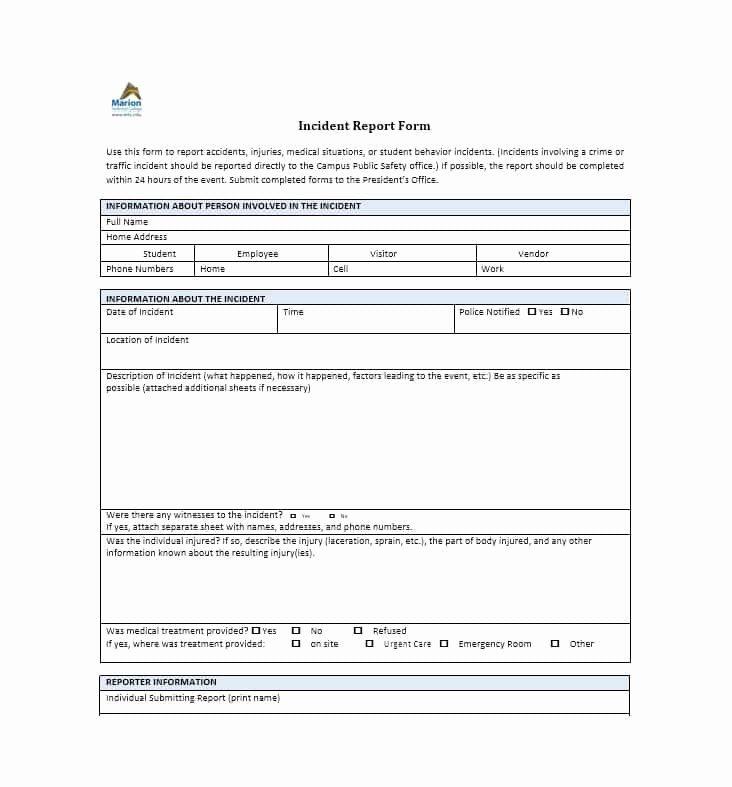 Generic Incident Report Template Fresh 60 Incident Report Template [employee Police Generic