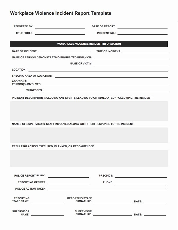Generic Incident Report Template Lovely Free Incident Report Templates Smartsheet