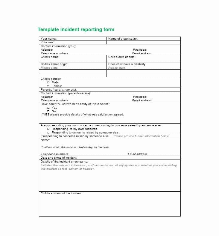 Generic Incident Report Template Luxury 60 Incident Report Template [employee Police Generic]