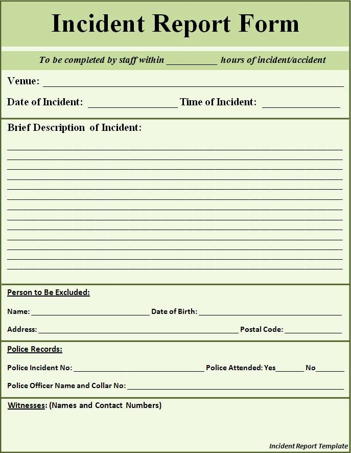 Generic Incident Report Template New Free Printable Police Report Template form Generic
