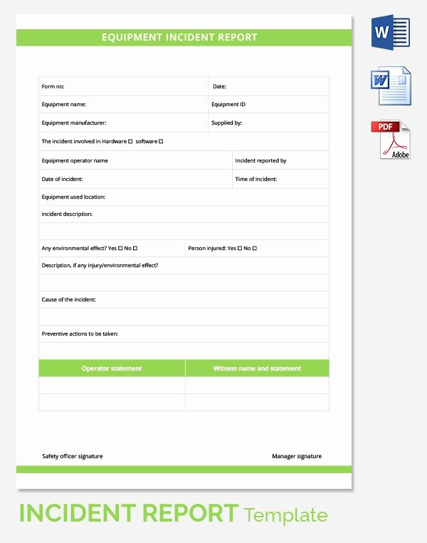 Generic Incident Report Template New Incident Report Template 39 Free Word Pdf format