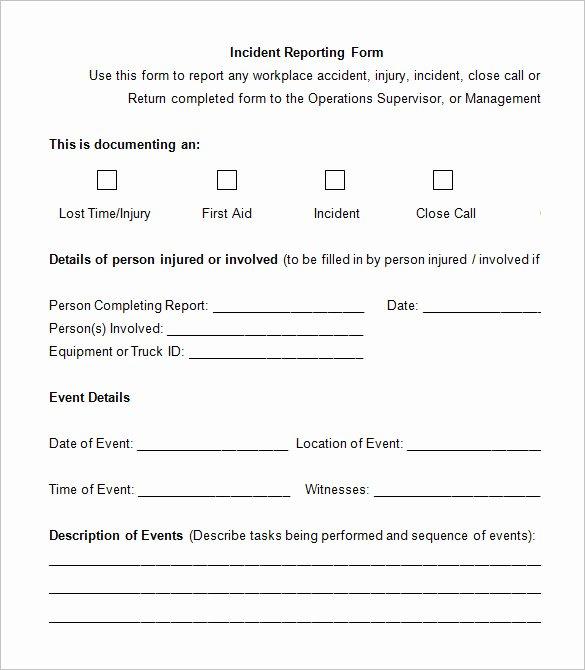 Generic Incident Report Template Unique 14 Employee Incident Report Templates Pdf Doc