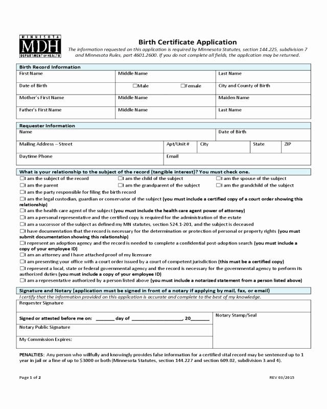 Georgia Death Certificate Template Luxury Birth Certificate Application Minnesota Edit Fill