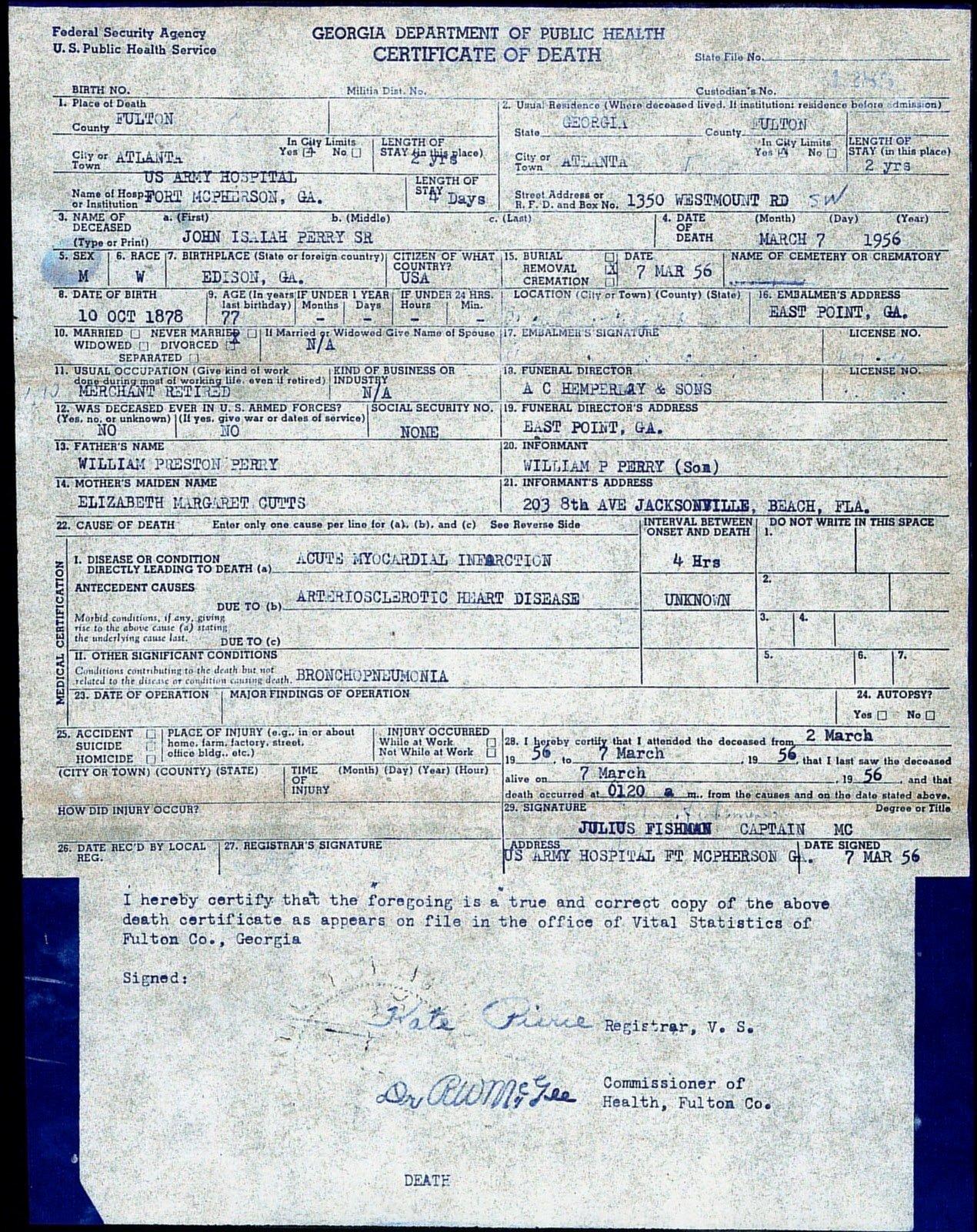Georgia Death Certificate Template Unique My Georgia Roots My Joshua Tree Part Ii