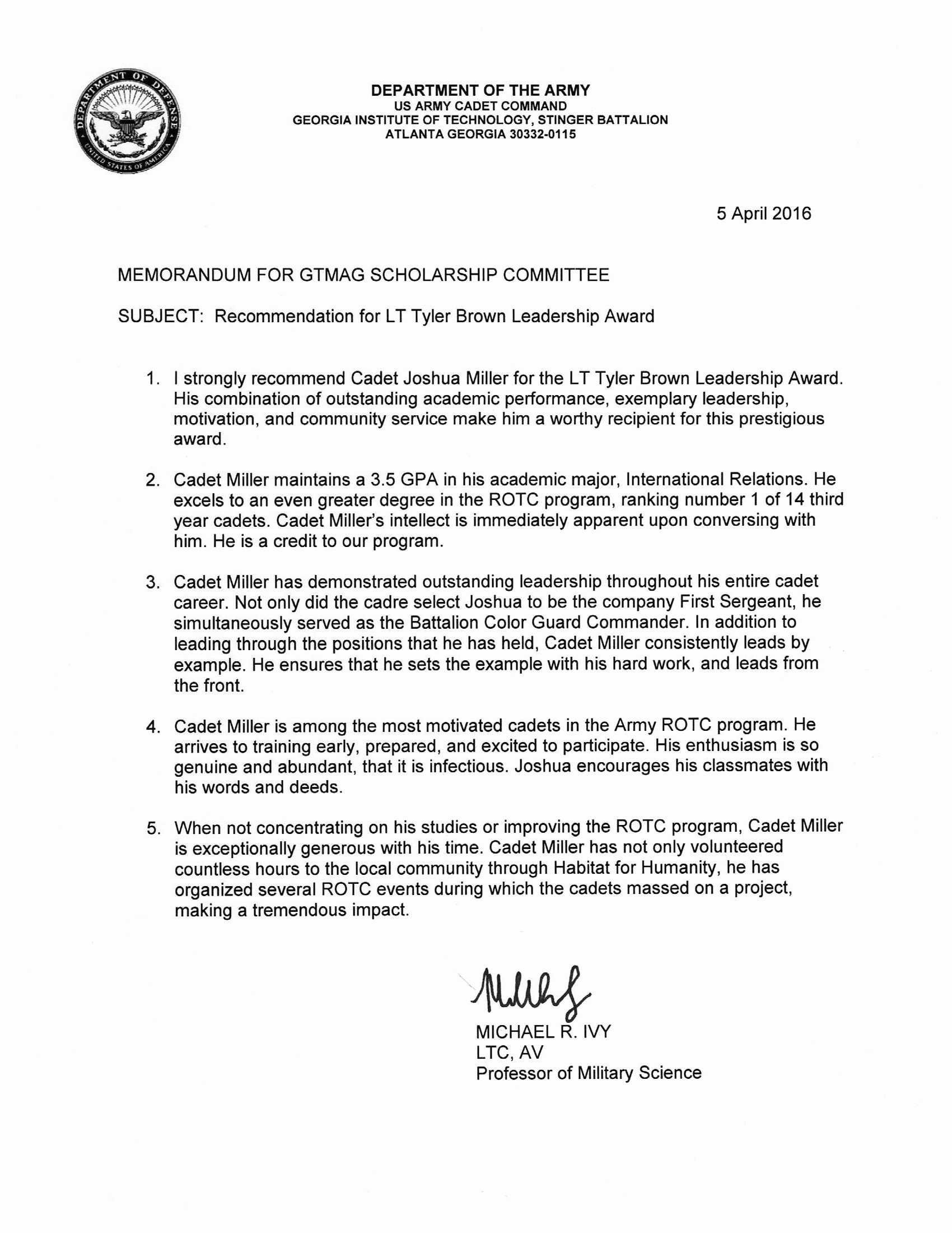 Georgia Tech Recommendation Letter New Honoring Tyler Brown