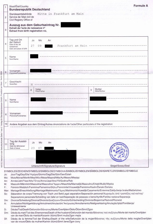 German Birth Certificate Template Lovely order Replacement Official Documents Of Birth From Germany