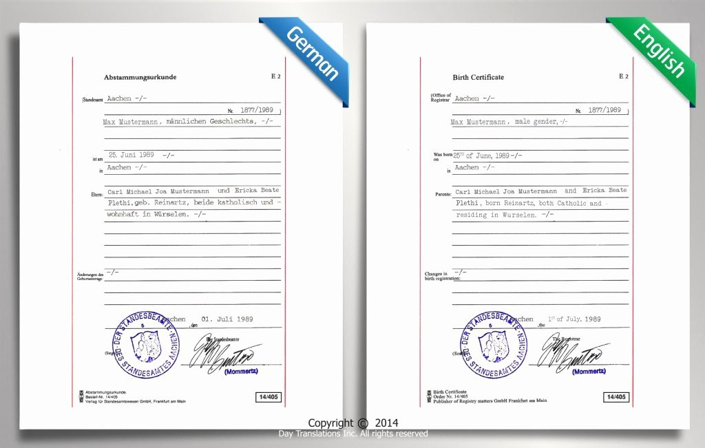 German Birth Certificate Template New Certified Translation Samples Day Translations Work