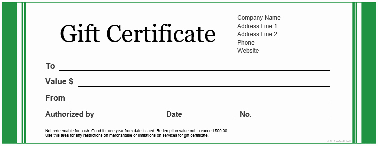 Gift Certificate Wording Inspirational Gift Certificate Templates