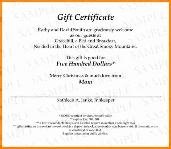 Gift Certificate Wording Lovely Sample Gift Certificate