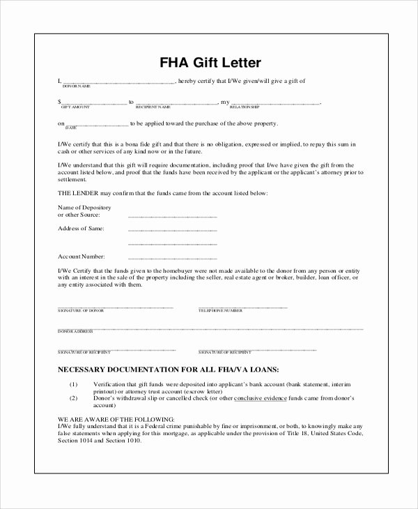 Gift Money Letter Template Awesome 13 Sample Gift Letters Pdf Word