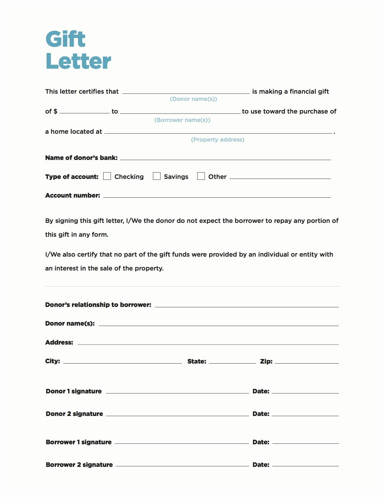 Gift Money Letter Template Elegant Gift Money Can Meet Your Down Payment Needs Nerdwallet