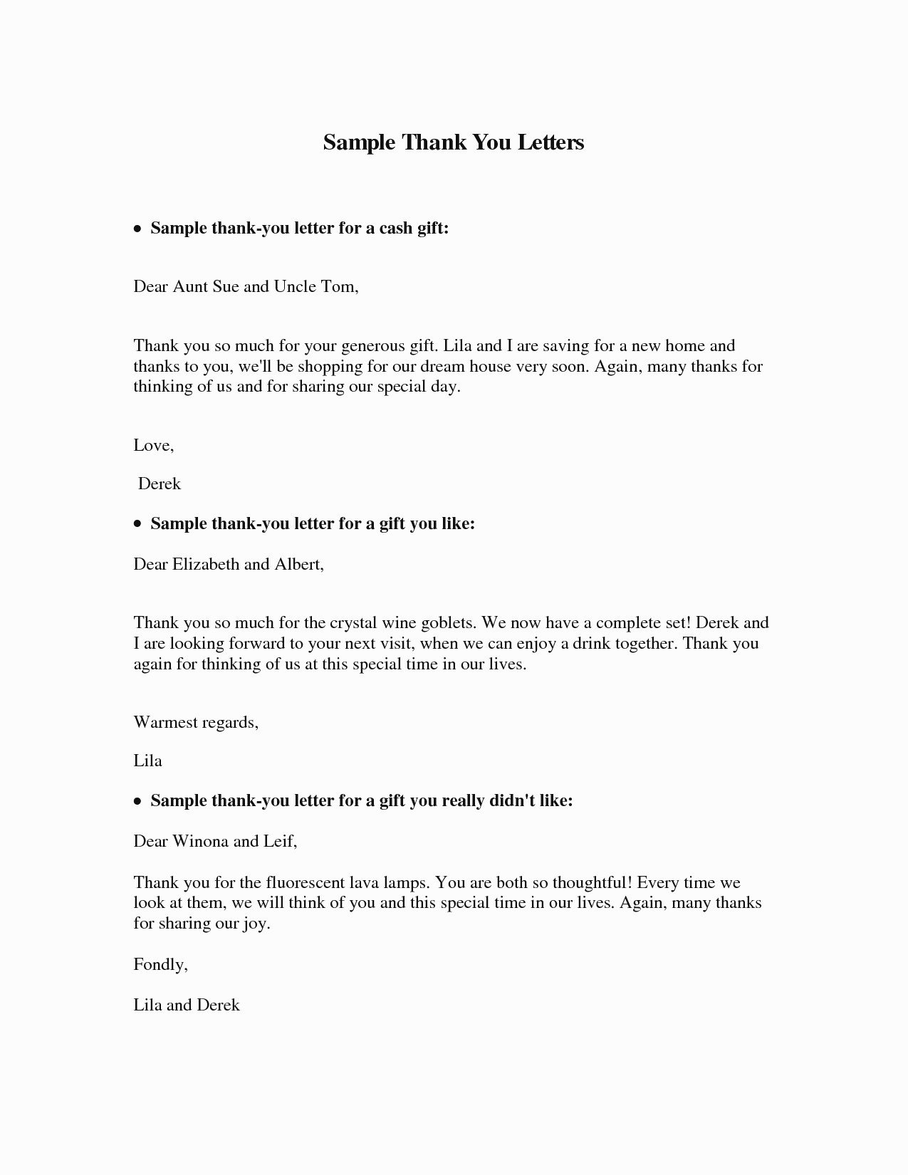 Gift Money Letter Template New Valid Thank You Letter Sample to Parents