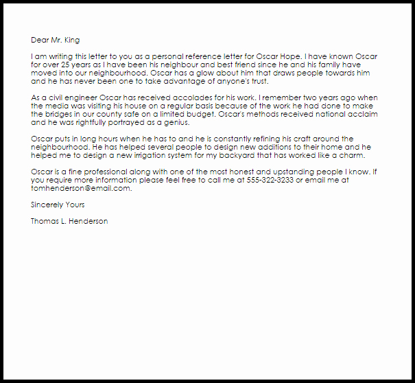 Glowing Letter Of Recommendation Fresh Personal Reference Letter Example
