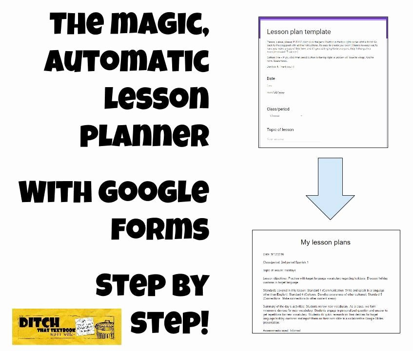 Google Doc Lesson Plan Template Inspirational the Magic Automatic Lesson Planner with Google forms