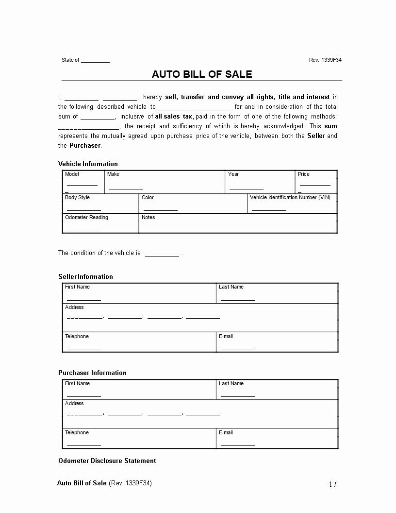 Google Docs Bill Of Sale New Free Automobile Bill Sale