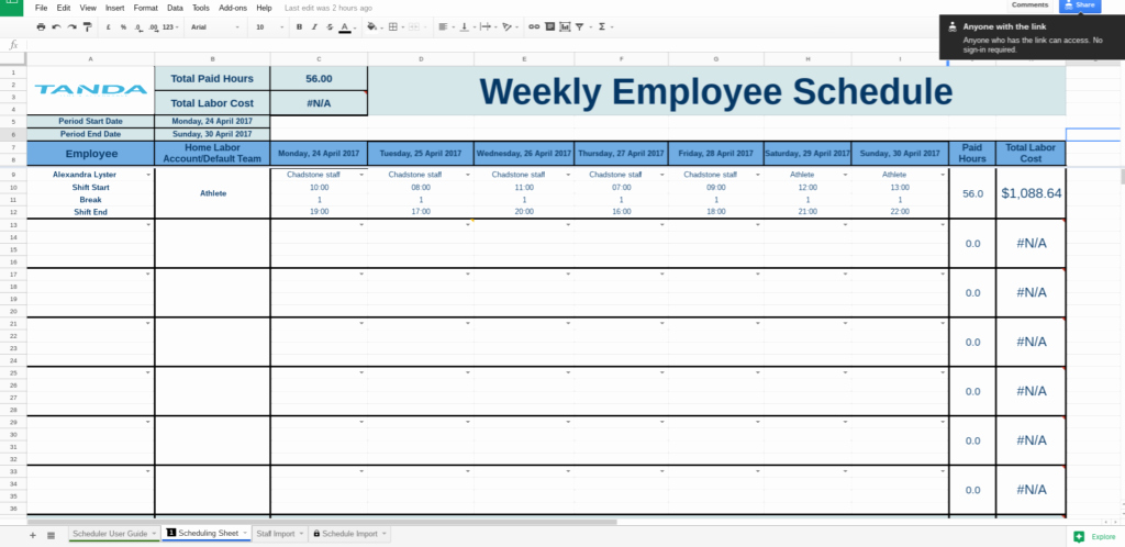 Google Docs Business Plan Template Beautiful Employee Schedule Template Google Docs