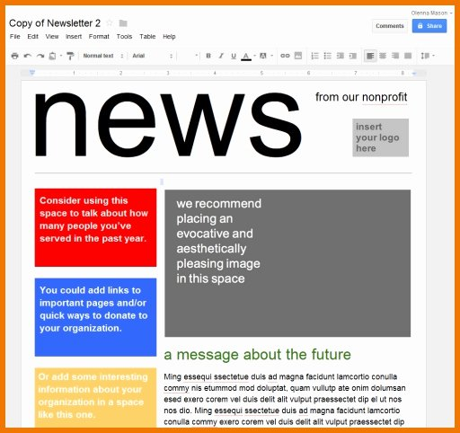 Google Docs Business Plan Template Unique Newsletter Templates for Google Docs