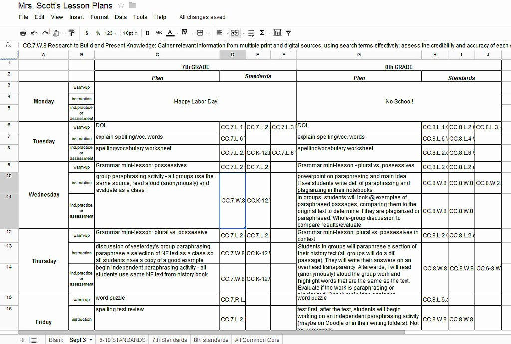 Google Docs Lesson Plan Template Fresh Lesson Plan Template Google Docs