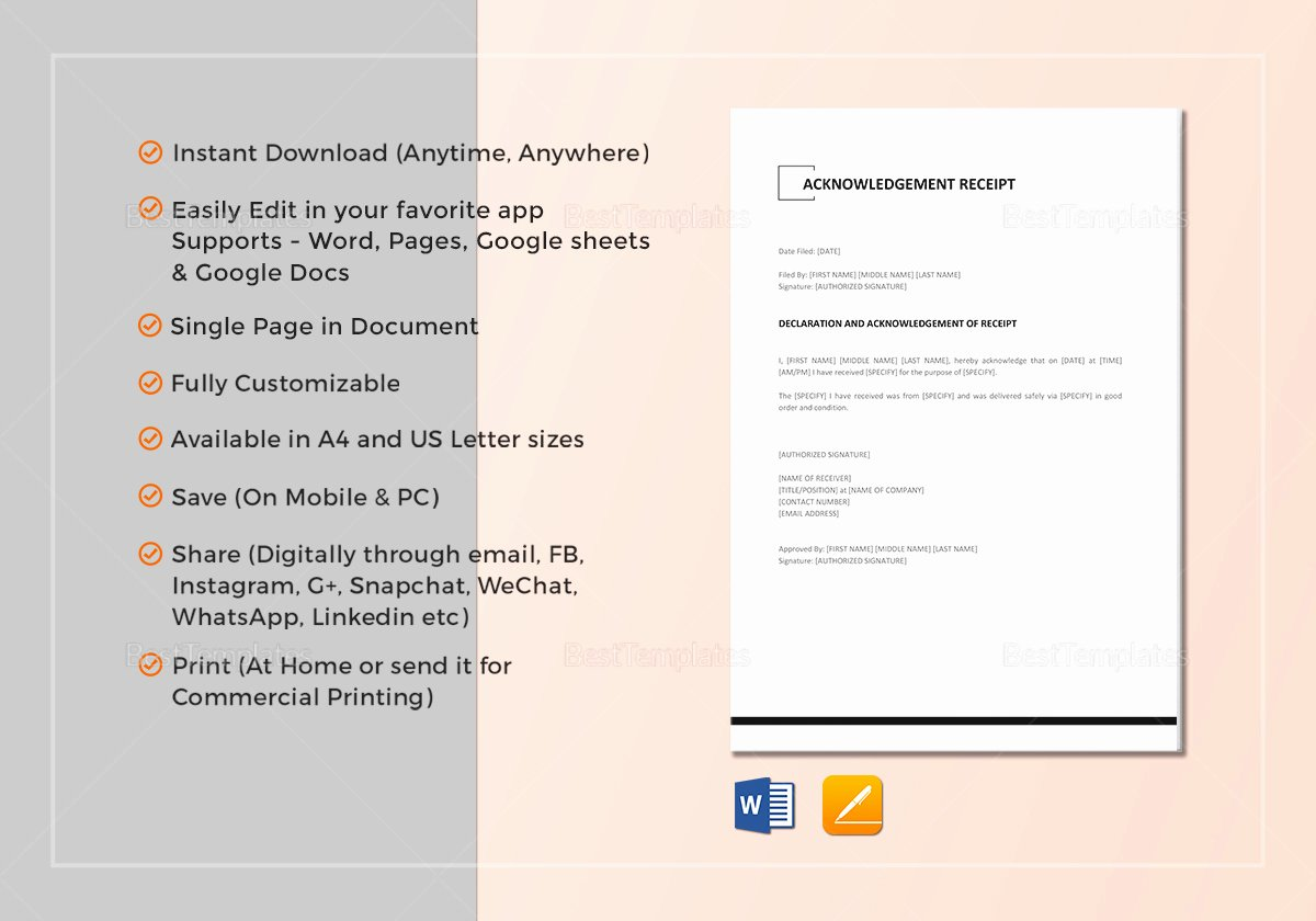 Google Docs Sales Receipt Template Unique Acknowledgement Receipt Template In Word Google Docs