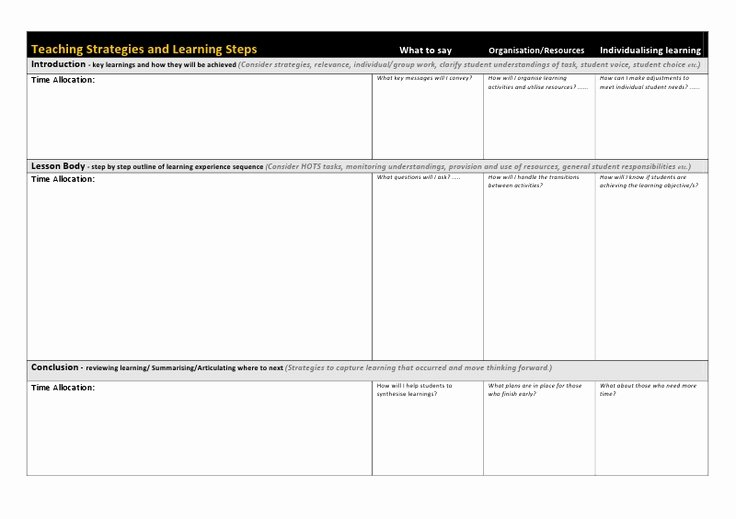 Google Drive Lesson Plan Template New Usq Generic Lesson Planning Templatec