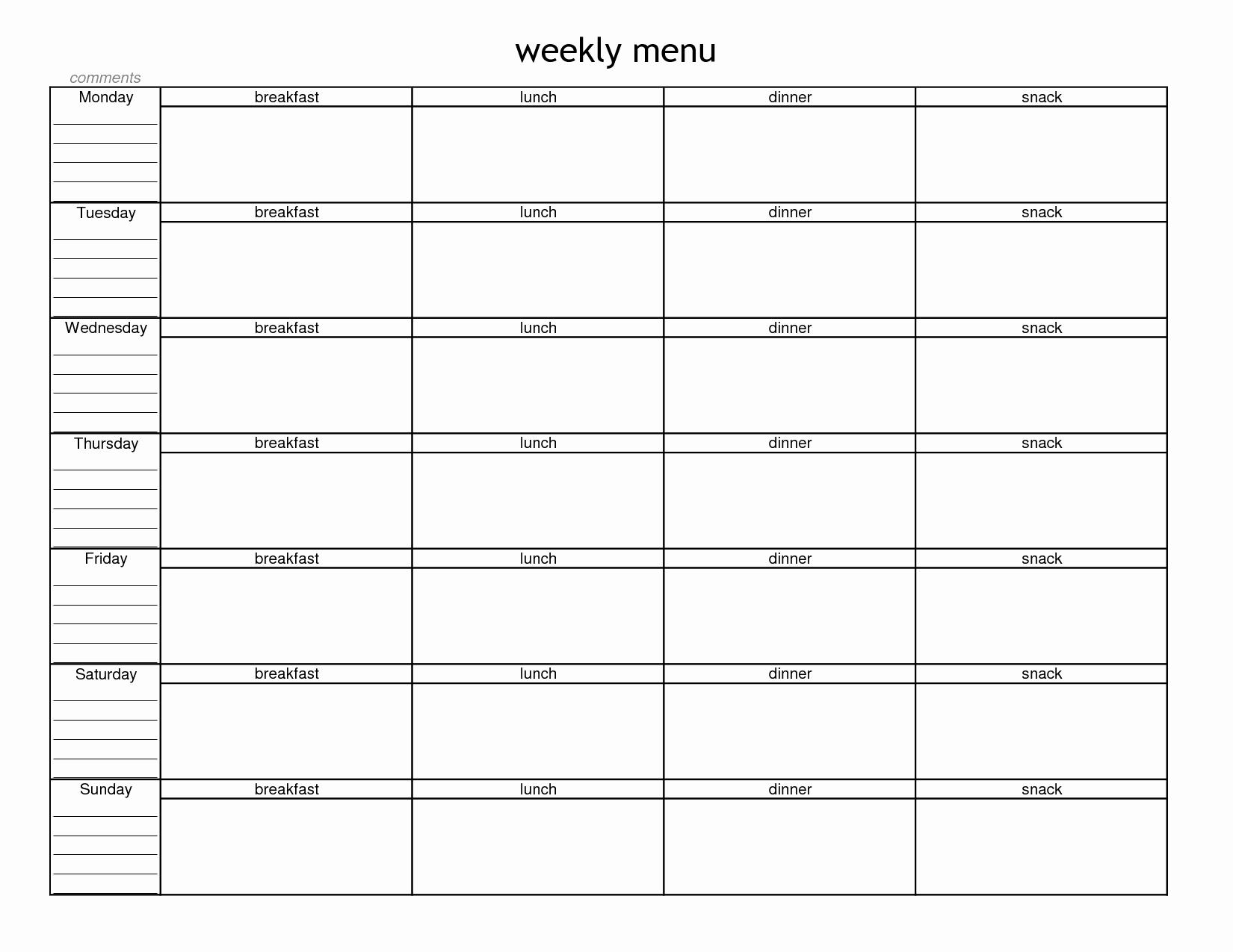 Google Drive Meal Plan Template Lovely Blank Weekly Menu Planner Template