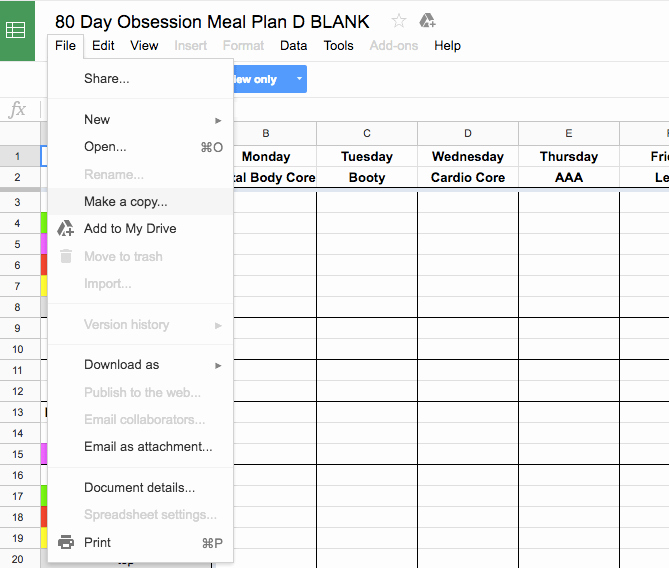 Google Drive Meal Plan Template Luxury 80 Day Obsession Meal Plan and Free Printable Amanda