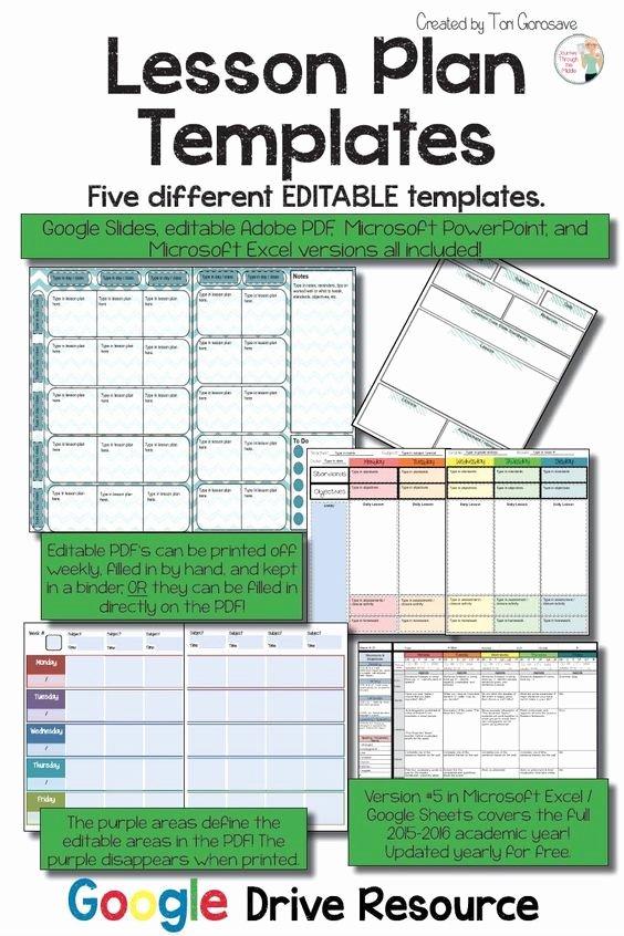 Google Lesson Plan Template Fresh Lesson Plan Templates Multiple Editable Templates