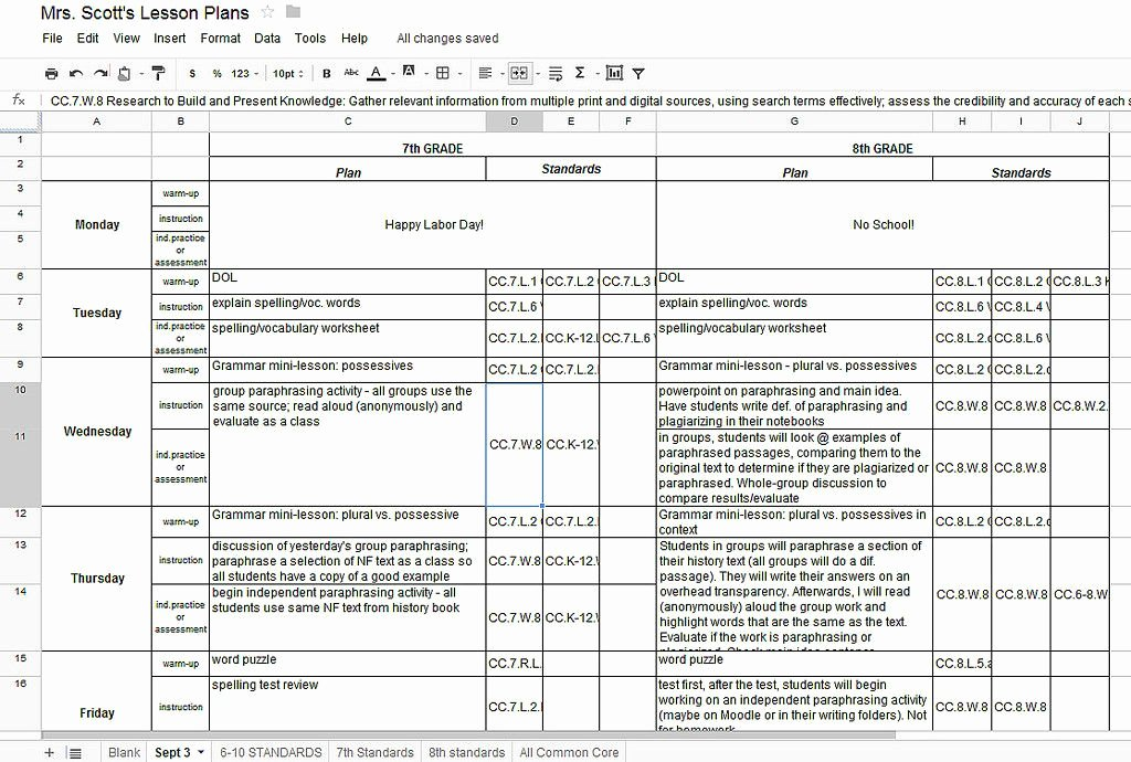 Google Sheets Lesson Plan Template Awesome Creating A Lesson Plan Template In Google Docs Shmpfo