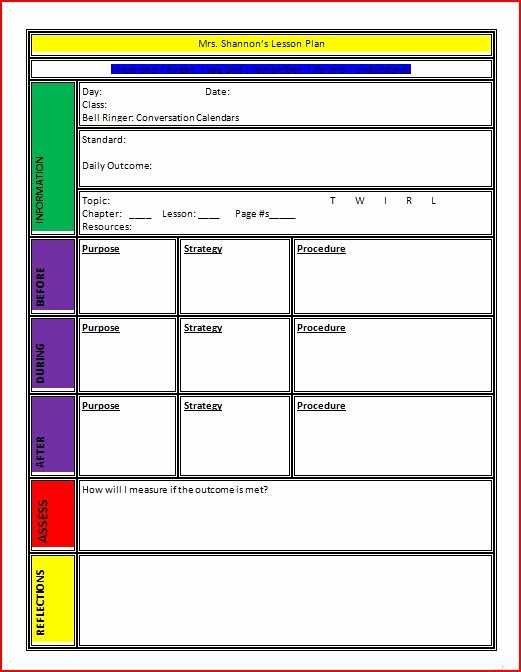 Google Sheets Lesson Plan Template New Lesson Plan Template
