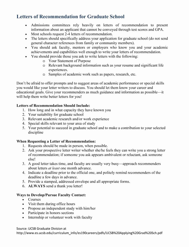 Grad School Letter Of Recommendation Best Of Graduate School Re Mendation Letter Sample Letters and