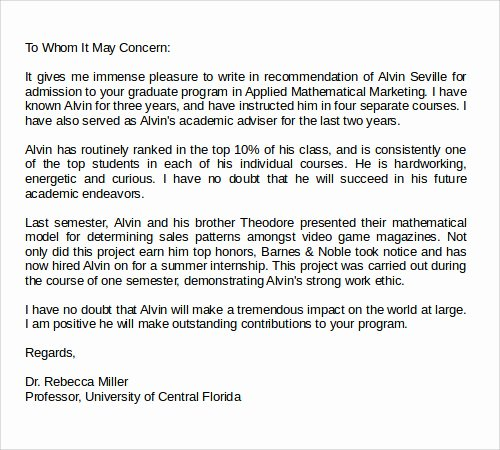 Grad School Letter Of Recommendation Elegant 28 Letter Of Re Mendation In Word Samples