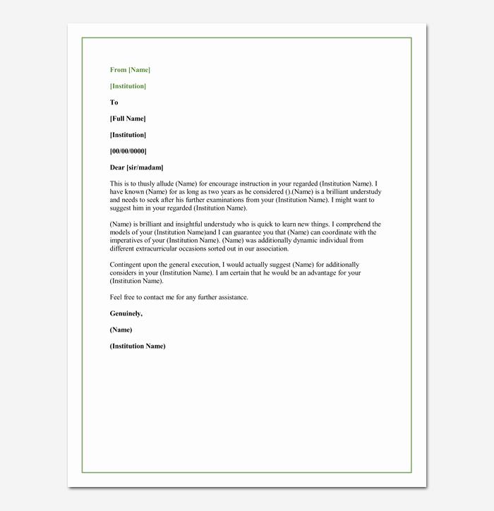 Grad School Letter Of Recommendation Elegant Letter Of Re Mendation for A Graduate School 5 Sample