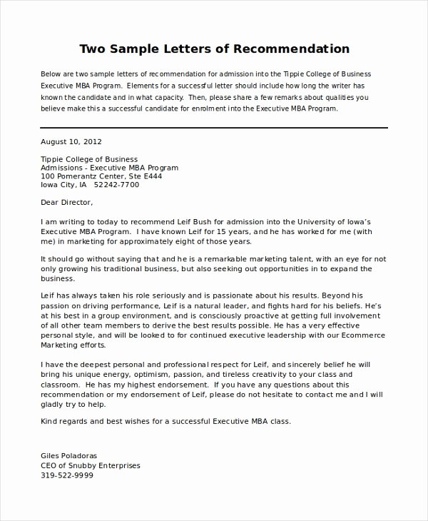 Grad School Letter Of Recommendation Elegant Personal Letter Of Re Mendation Sample