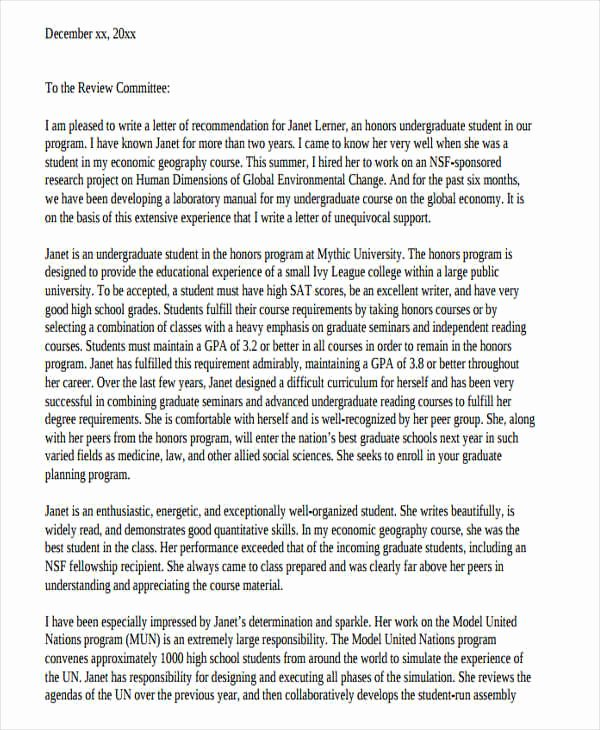 Grad School Letter Of Recommendation Fresh 54 Re Mendation Letter Example Templates