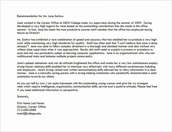 Grad School Letter Of Recommendation Fresh Letter Of Re Mendation for Graduate School – 10 Free