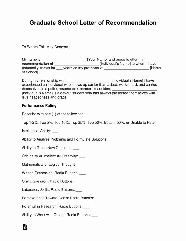 Grad School Letter Of Recommendation Lovely Free Graduate School Letter Of Re Mendation Template