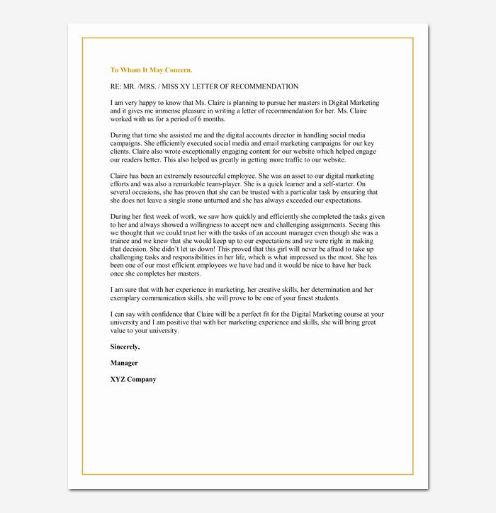 Grad School Letter Of Recommendation Lovely Letter Of Re Mendation for A Graduate School 5 Sample