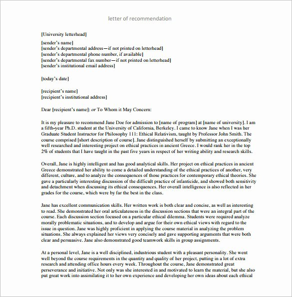 Grad School Letter Of Recommendation Unique Letter Of Re Mendation for Graduate School – 10 Free