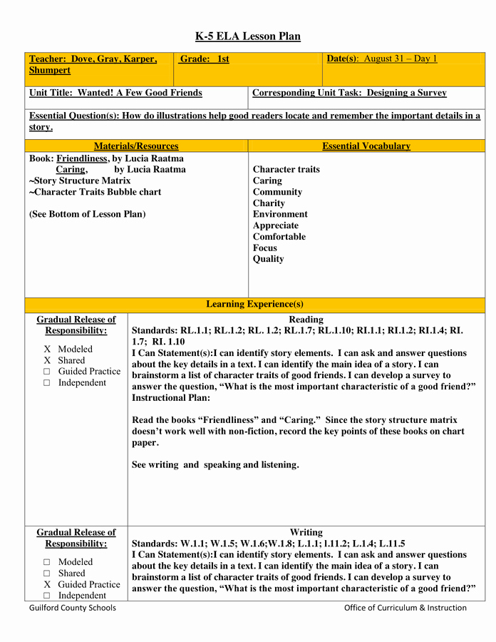 Gradual Release Lesson Plan Template Luxury K 5 Lesson Plan In Word and Pdf formats