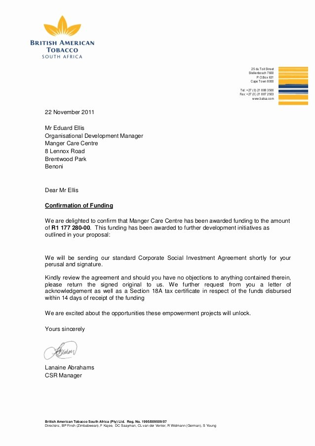 Grant Acknowledgement Letter Beautiful Funding Confirmation Letter Manger Care Centre 2