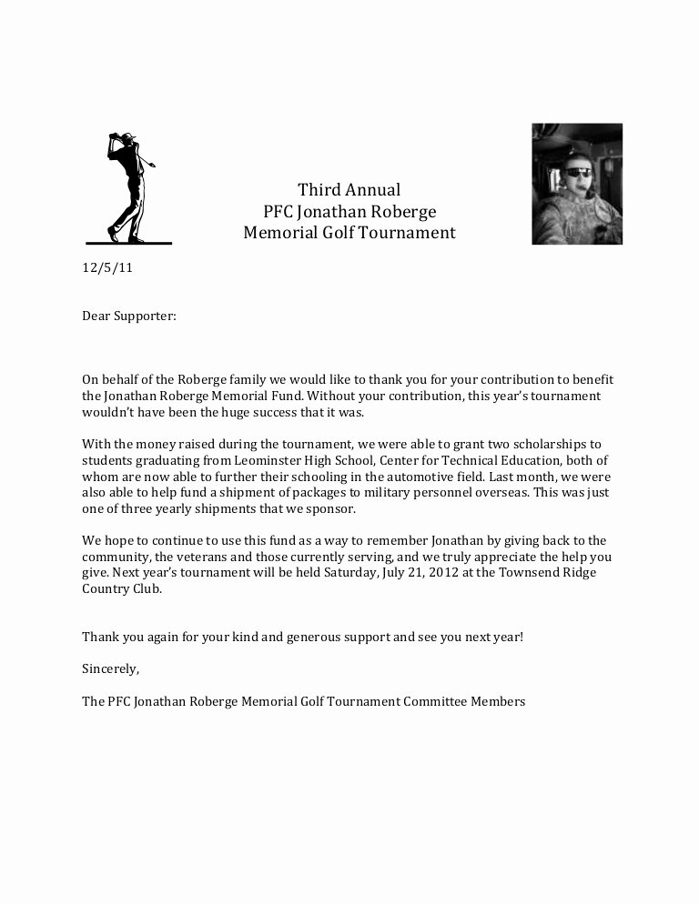 Grant Acknowledgement Letter Inspirational Thank You Letter Memorial Golf tournament