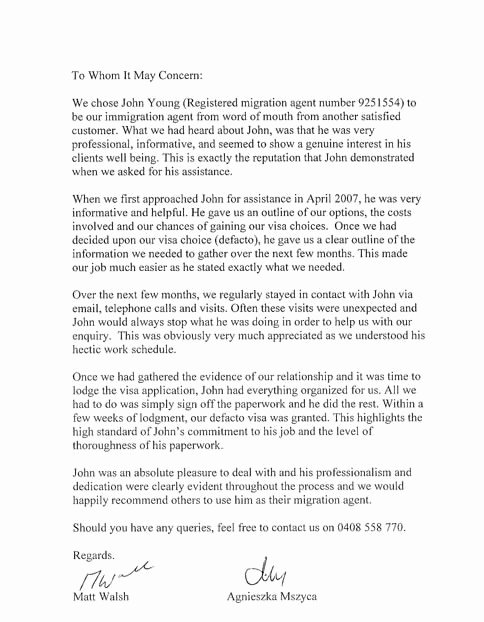 Green Card Recommendation Letter Inspirational Sample Letter Married Couple Immigration