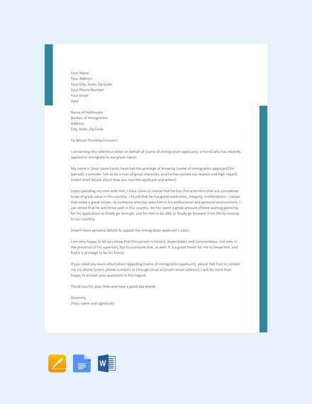 Green Card Recommendation Letter Sample Unique 10 Immigration Reference Letter Templates Pdf Doc