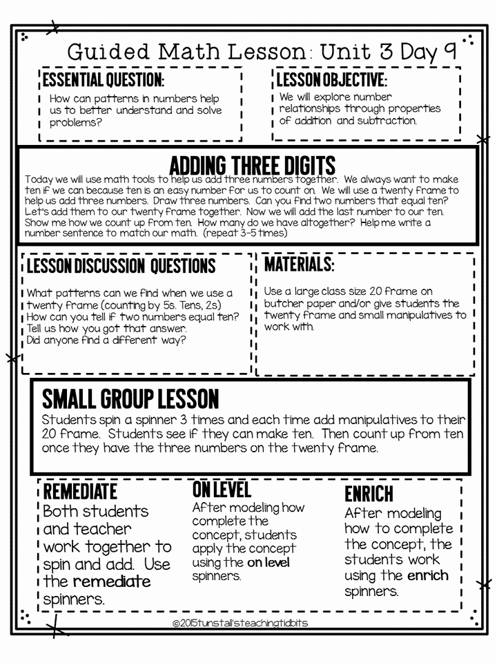 Guided Math Lesson Plan Template Inspirational Guided Math Tunstall S Teaching Tidbits