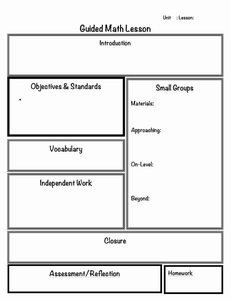 Guided Math Lesson Plan Template Unique Math Lesson Plan Template