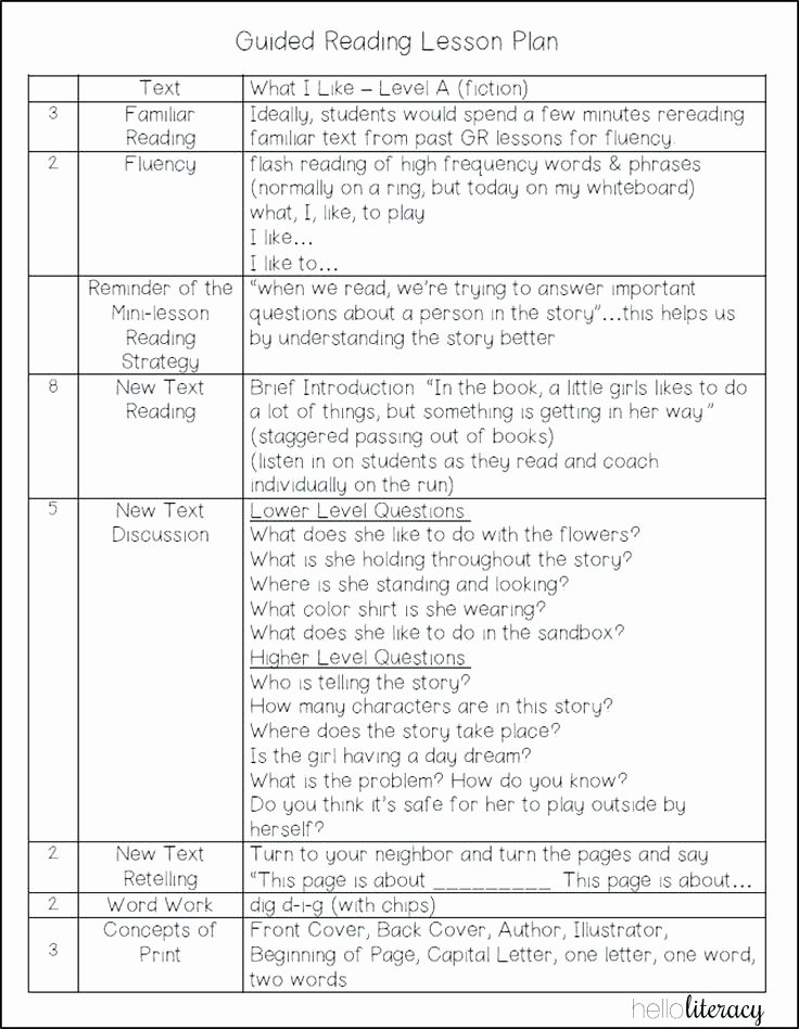 Guided Reading Lesson Plan Template Best Of Group Lesson Plan Template