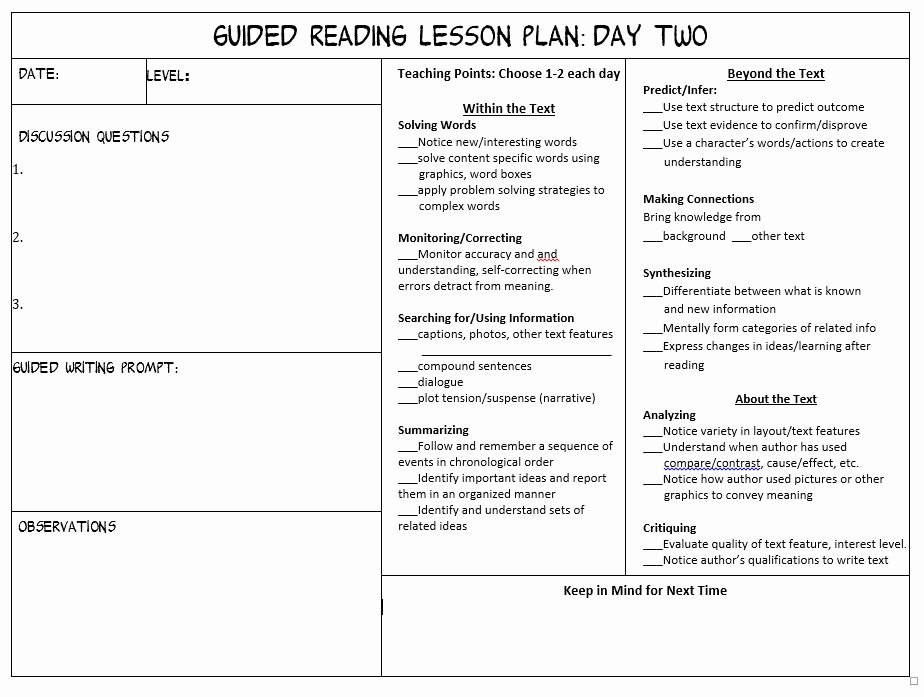 Guided Reading Lesson Plan Template Unique Guided Reading Lesson Plan Template