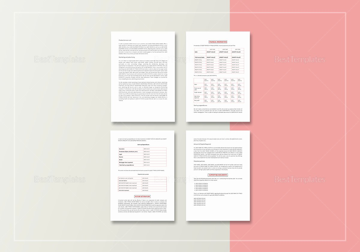 Gym Business Plan Template Awesome Gym Business Plan Template In Word Google Docs Apple Pages
